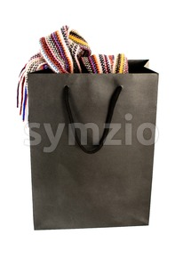 Shopping Bag With Contents On White Stock Photo