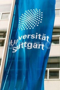 Flag in front of the University of Stuttgart, Germany Stock Photo