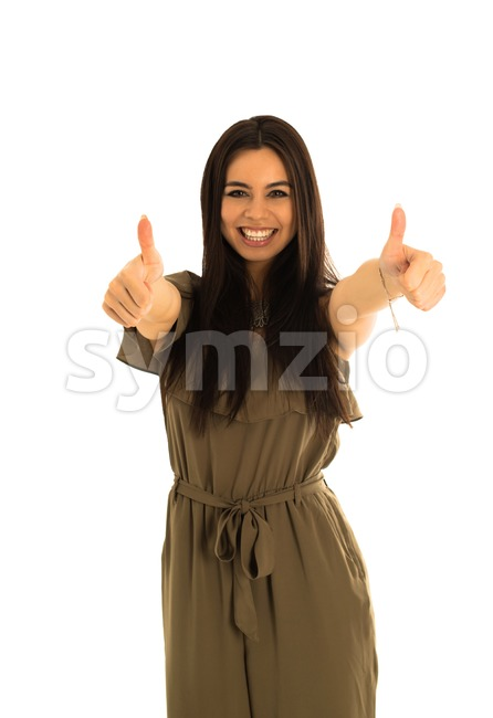 Happy smiling businesswoman with thumbs up gesture, interesting european and caucasian mix, isolated on white background