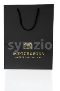 Empty Scotch And Soda Black Shopping Bag On White Stock Photo