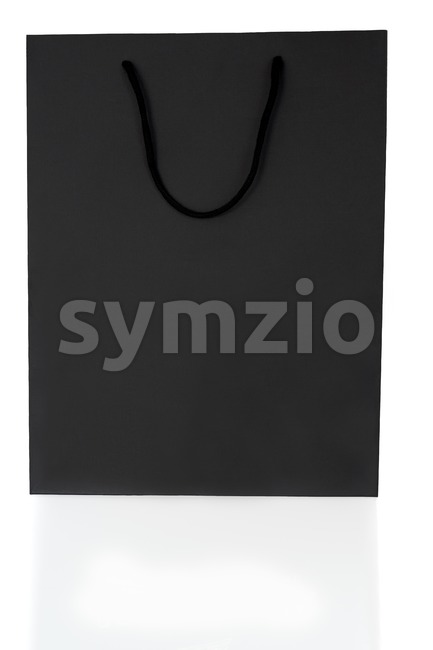 Empty Black Shopping Bag On White Stock Photo