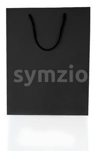 Empty Black Shopping Bag On White Stock Photo