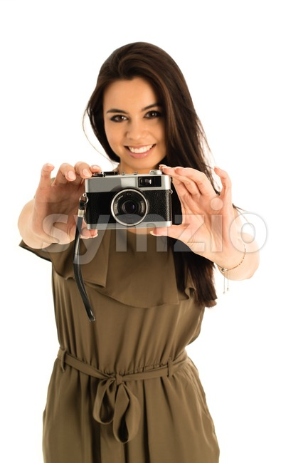 Attractive Woman with photo camera Stock Photo
