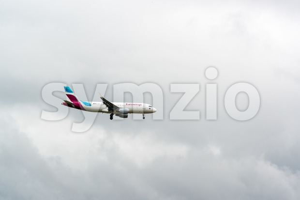 Eurowings airplane approaching Stuttgart Stock Photo