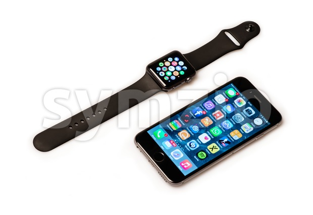 Apple Watch and iPhone Stock Photo