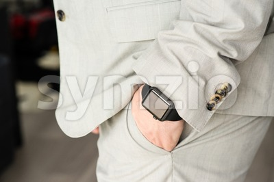 Businessman wearing the Apple Watch Stock Photo