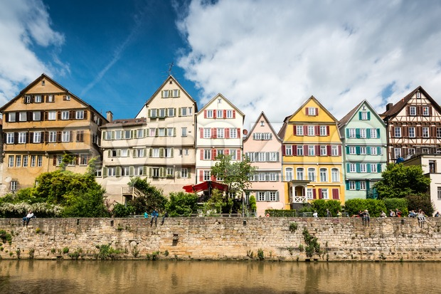 Beautiful old houses at the waterfront of Tubingen, Germany Stock Photo