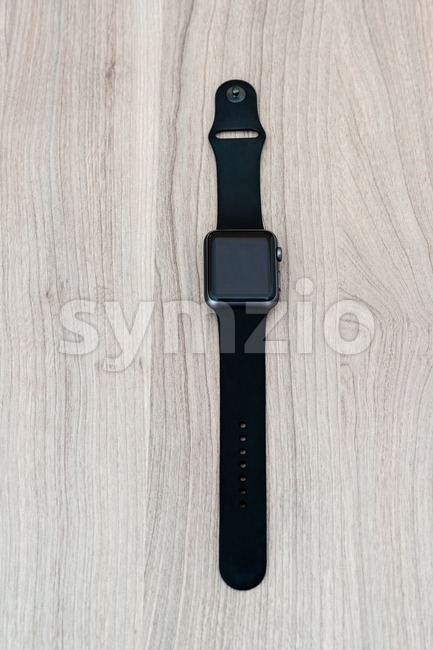Apple Watch Sport on the table with blank screen Stock Photo
