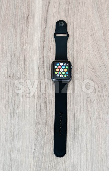 OSTFILDERN, GERMANY - MAY 21, 2015: An Apple Watch Sport 42mm with space gray aluminium case and black sport band ...