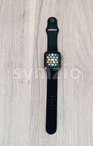 Apple Watch Sport on the table with app screen Stock Photo