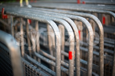 crowd control barriers Stock Photo