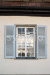 Window opposite Palace of the Solitude in Stuttgart, Germany Stock Photo
