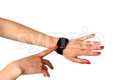 Woman touching her Apple Watch Stock Photo