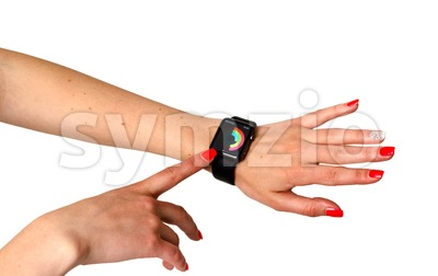 Woman checking her activities on the Apple Watch Stock Photo