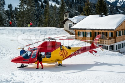 Rescue helicopter in Montafon skiing area Stock Photo