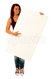 fancy young woman holding a white banner Stock Photo
