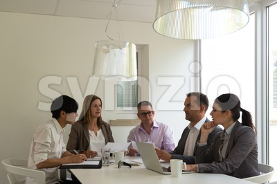 business meeting in a bright environment Stock Photo