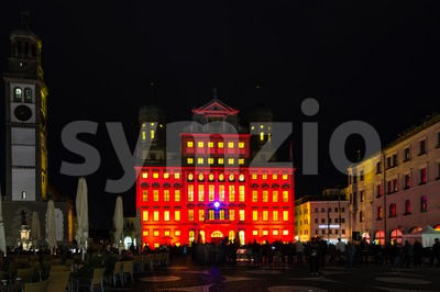 Illuminated town hall and Perlach tower of Augsburg, Germany Stock Photo