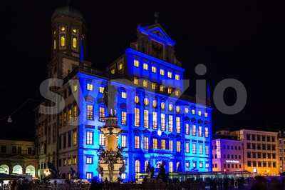 Illuminated town hall of Augsburg, Germany Stock Photo
