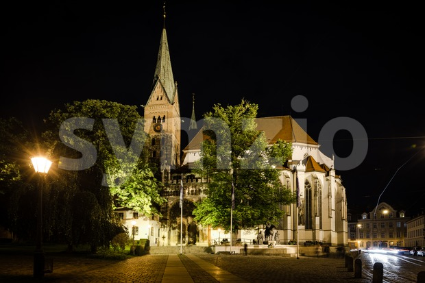 Cathedral of Augsburg at night Stock Photo