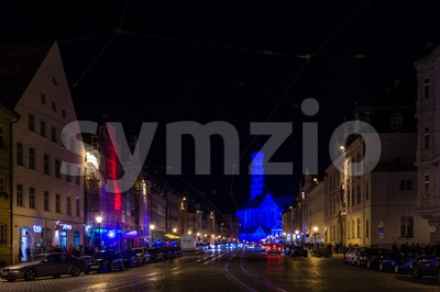 Maximilianstreet and St. Ulrich Basilica in the city of Augsburg Stock Photo