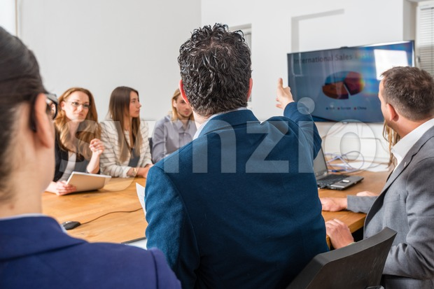 Discussion in business meeting Stock Photo