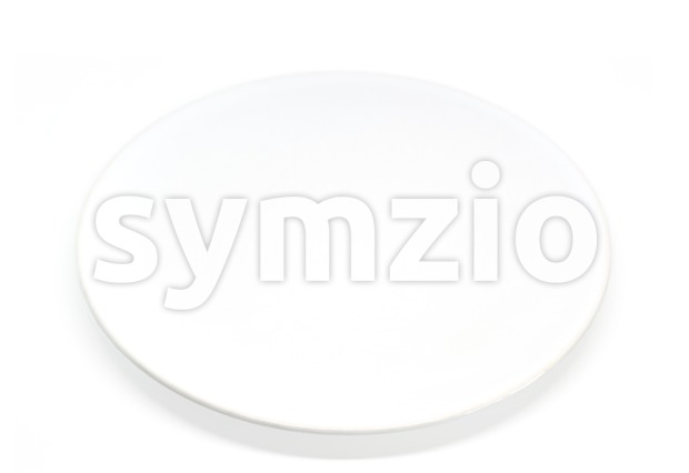 Empty white plate on a white background Stock Photo