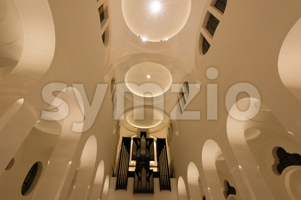 Modern Church interior with organ Stock Photo