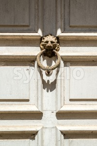 Door knocker, handle -  lion head Stock Photo