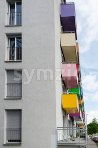 Colorful balconies Stock Photo