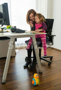 Reconciliation of family and work life Stock Photo