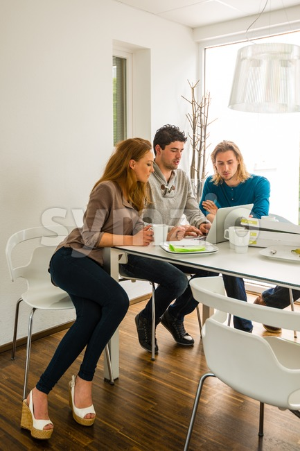 Start-up business team in meeting, working on computer after having pizza in a bright room