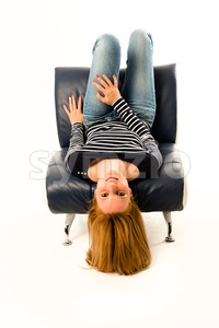 Girl lying face down Stock Photo