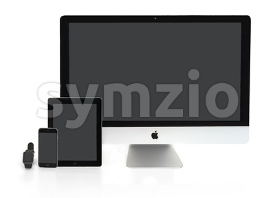 Multiscreen - Apple Watch, iPhone, iPad and iMac screens Stock Photo