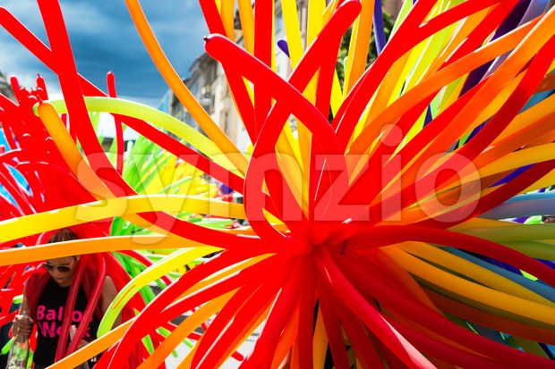 Colorful  balloons on Christopher Street Day 2015 in Stuttgart, Germany Stock Photo