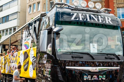Truck with partying crowd on Christopher Street Day 2015 in Stuttgart, Germany Stock Photo