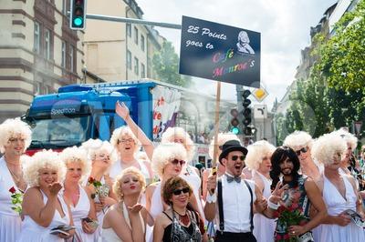 Marilyn Monroes on Christopher Street Day 2015 in Stuttgart, Germany Stock Photo