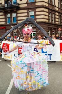 Participant of Christopher Street Day 2015 in Stuttgart, Germany in great costume Stock Photo