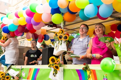 Claudia Roth and Cem Oezdemir on Christopher Street Day in Stuttgart, Germany Stock Photo