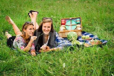 Best friends having a picnic Stock Photo