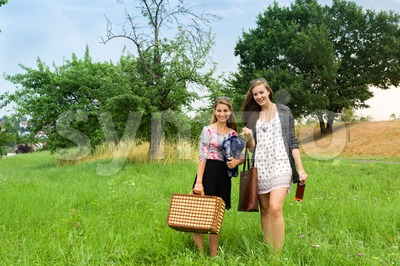 Two girls getting ready for a picnic Stock Photo