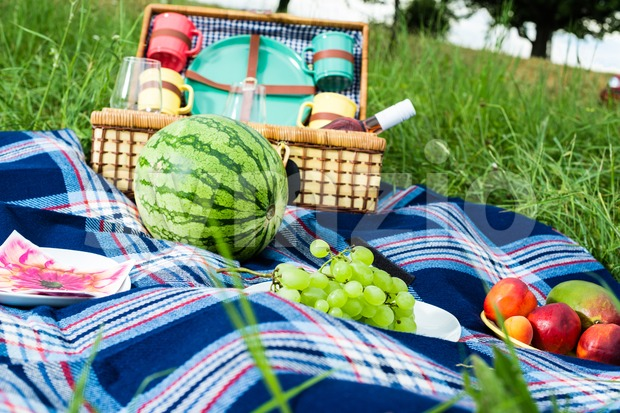 Picnic blanket and basket with fruits and wine bottle in a sunlit grassy meadow