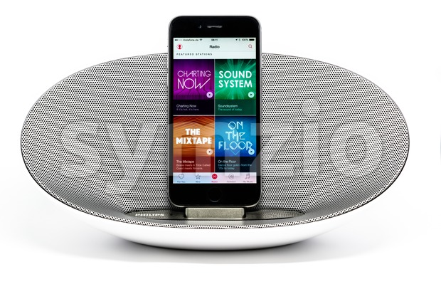 iPhone 6 with loudspeaker displaying the Apple Music radio screen Stock Photo