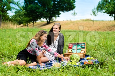 Best friends having a picnic Stock Photo