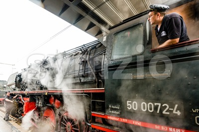 steam locomotive starting engines Stock Photo