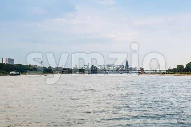 Cologne, Germany - September 12, 2015: Skyline of the beautiful city of Cologne , Germany, with radio tower, Rheinau harbor, ...