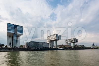 Rheinau harbor in Cologne Stock Photo