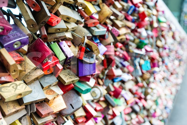 Love Lockers at Hohenzollern Bridge in Cologne, Germany Stock Photo