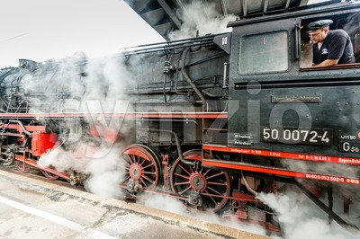 classic steam locomotive starting engines Stock Photo