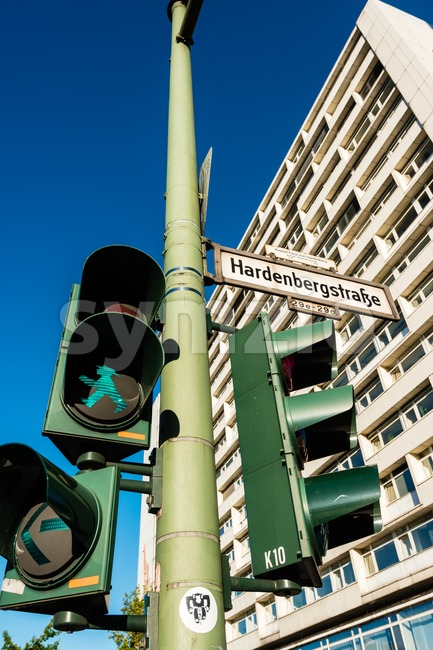 East German crossroads in Berlin Stock Photo